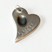Silver Curved Heart Charm